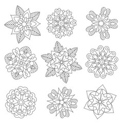 christmas snowflakes or manda flowers coloring set vector image