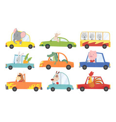 colored set kids transport with cute little vector image