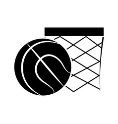 contour basketball and basket with the ball icon vector image
