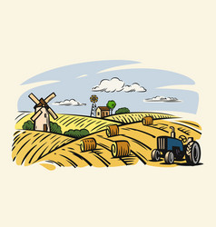 Country with tractor vector