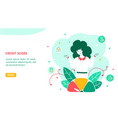 credit score landing page flat template vector image