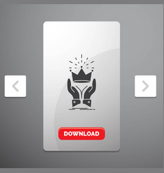 Crown honor king market royal glyph icon in vector