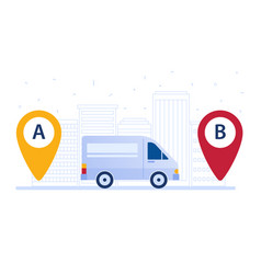Delivery van shipping cargo according to delivery vector