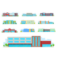 education building isolated icons with school vector image