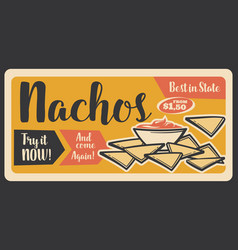 Fast food retro banner for nachos mexican snack vector