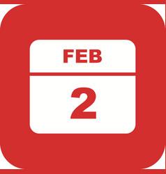 February 2nd date on a single day calendar vector