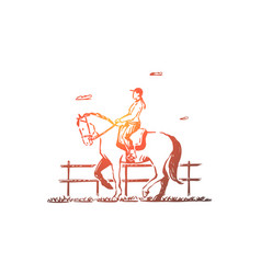 Female jockey horseback riding vector