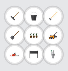 Flat icon farm set of flowerpot barbecue tool vector