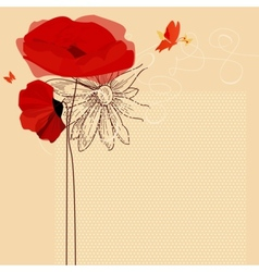 Floral invitation poppies and butterfly vector