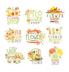 Flower shop red yellow and green colorful graphic vector