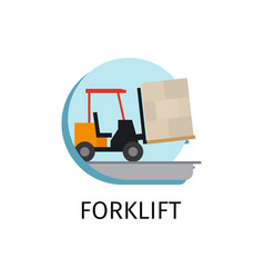 Forklift transport in flat style vector
