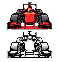 formula car race front side view vector image
