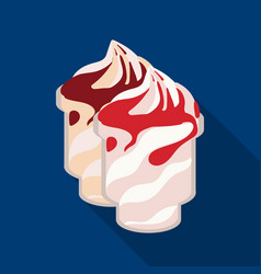 Frozen yogurt with syrup in cups icon in flat vector