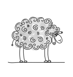 Funny grey sheep sketch for your design vector image