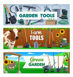 Garden shovel fork rake and bucket farm tools vector