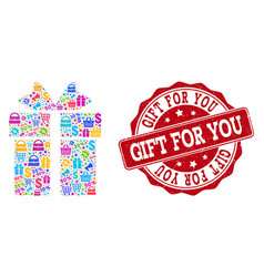 Gift collage of mosaic and textured seal for sales vector