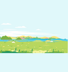 Grass field with river spring landscape vector