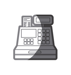 grayscale silhouette of cash register vector image
