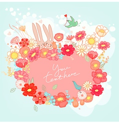 Greeting card with bunny vector