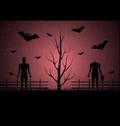 Halloween dry dead tree bat zombie vector
