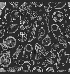 hand drawn sports equipment pattern or vector image