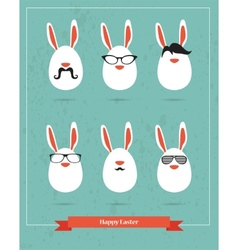 happy hipster easter - set stylish bunny icons vector image