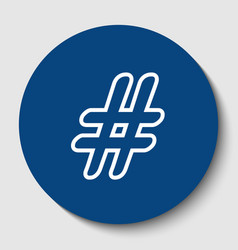 Hashtag sign white contour vector