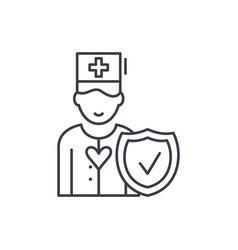 health insurance line icon concept health vector image