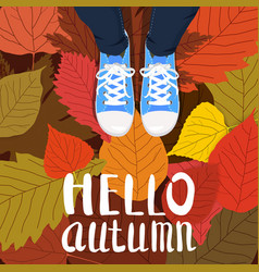 Hello autumn color person feet vector
