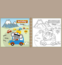 holiday time with cute elephant cartoon coloring vector image