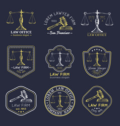Law office logos set with scales of justice gavel vector