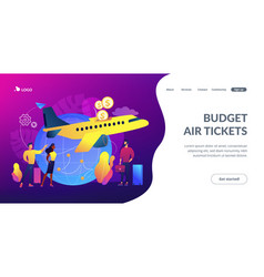 Low cost flights concept landing page vector