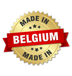 Made in belgium gold badge with red ribbon vector