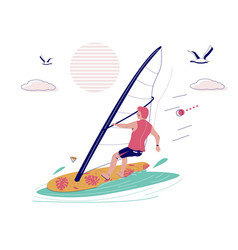 man riding windsurfing board with sail vector image