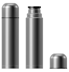 Metal vacuum thermos flask vector