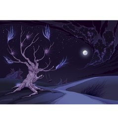 Nightly landscape with tree vector