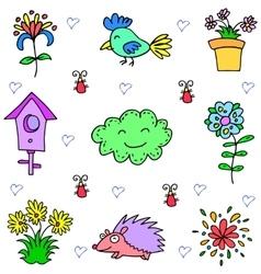 Object spring set doodles vector