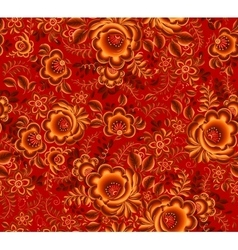 Orange floral seamless pattern on red background vector