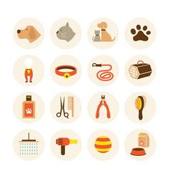 Pets grooming shop icons set vector