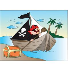 pirates boat and treasure chest at riverbank vector image