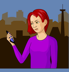 pop art girl with phone vector image