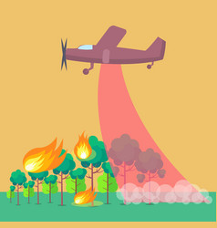 Poster depicting plane putting out forest fire vector