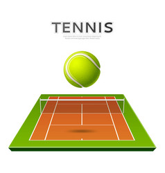 Realistic tennis ball at playground 3d icon vector