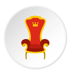 Red royal throne icon circle vector