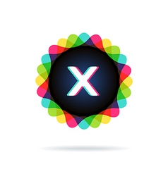 Retro bright colors Logotype Letter X vector