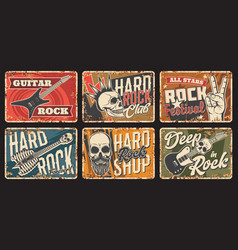 Rock music club festival and shop rusty tin sign vector