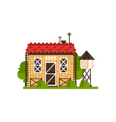 Rural cottage and water tower countryside vector