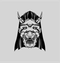 samurai mask monochrome version japanese vector image