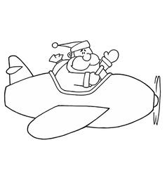 Santa claus flying plan cartoon vector image