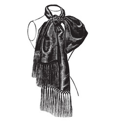 Scarf is designed with tassels vintage engraving vector